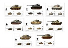 2018 TANKS TIGER TANK WWII 8 SOUVENIR SHEETS UNPERFORATED WAR MILITARY