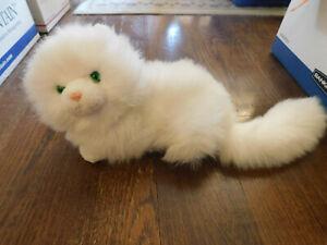 Vtg Russ Berrie Nikki Laying Big Kitty Cat White Plush Persian Green Eye Fluffy