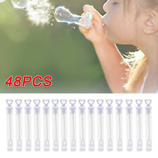 48 Wedding Wand Heart Bubble Tube Clear Favour Table Decoration Party Accessory