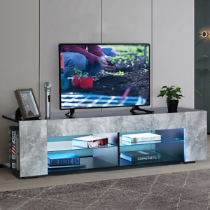 """57'' TV Stand for TVs up to 65"""", with Open Glass Shelves & Remote LED Light"""