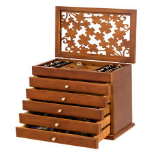 Large Wooden Jewelry Box Cabinet Armoire Case w/ 5 Drawers & AcrylicTop Brown