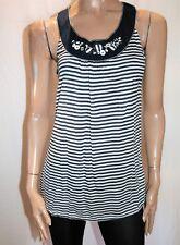TARGET Brand Navy White Stripe Button Feature Neck Tank Top Size 10 BNWT #Ti41