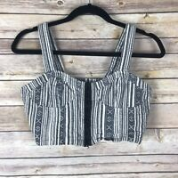Lucca Couture Womens Top Cotton Textured Crop Bralette Bustier Hook Eye Front 4