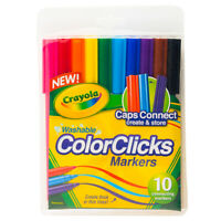 10pk Crayola Washable Color Clicks Markers Caps Connect For Multi Line Drawing