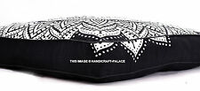 Black Ombre Floor Pillow Mandala Indian Square Ottoman Pouf Cover Ottoman Daybed