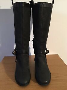 COLE HAAN dark green/charcoal nubuck knee high boot black leather trim UK 5 £300