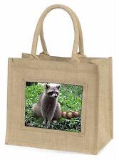 Racoon Lemur Large Natural Jute Shopping Bag Christmas Gift Idea, ARL-1BLN