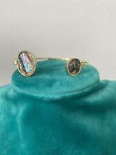 Gold Tone Vintage Open Bangle Bracelet Iridescent stone