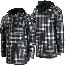 VOLCOM Mens 2016 Snowboard Black White Plaid FIELD BONDED DWR FLANNEL Hoodie