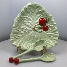 Carlton Ware Lettuce Dish with  Salad Fork and Spoon