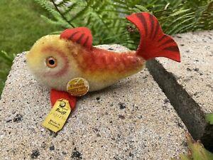 Steiff Fisch Flossy, 10cm, 1978 - 1980, Knopf, Fahne 2301/10 und Schild