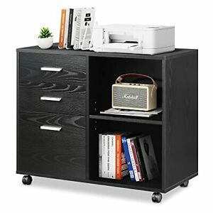 3-Drawer Wood File Cabinet, Mobile Lateral Filing Cabinet, Printer Stand Black