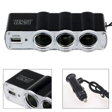 3 Way Triple Car Cigarette Lighter Socket Splitter DC 12V/24V USB Car Charger