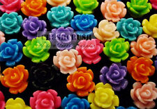 Free Shipping - 40pcs 9mm Resin ROSES FLOWER Floral FlatBack Cabochons Cab F1065