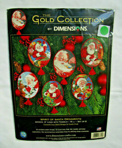 """Dimensions Gold Collection """"Spirit of Santa Ornaments"""" Cross Stitch Kit Makes 6"""