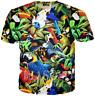 Parrot bird weed leaf 3D print women's/men's Short Sleeve Casual Tops T-Shirt