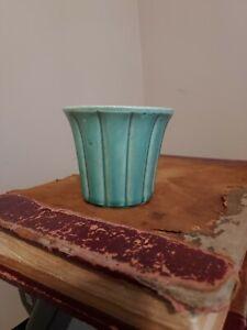 "Vintage McCoy Pottery - 3"" Turquoise Flower Pot Planter"
