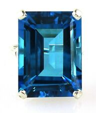 Natural Very Large Top Swiss Blue Topaz Emerald-Cut Ring, 10k White Gold