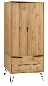 Industrial Wooden 2 Door 2 Drawer Wardrobe Shelf Hanging Rail Bedroom Storage