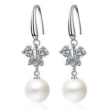Women Elegant Solid 925 Sterling Silver Zircon Butterfly Pearl Dangle Earrings