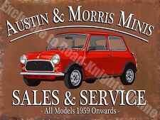 Vintage Garage, Austin Morris Mini Sales & Service Car/Van, Large Metal/Tin Sign
