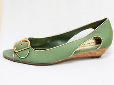 Predictions Green Fabric Gold Open Toe Cork Low Wedge Sandals Sz 8 US/ 39 Eur