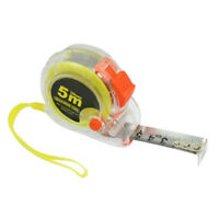 Plastic Housing Self Retract Measure Tape Rule 5M Yellow Orange Clear WS