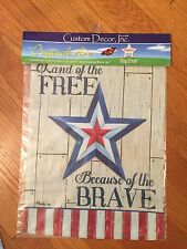 Land Of The Free Home Of The Brave  DBL Sided Garden Flag New In Pkg Made in USA