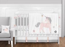 Sweet Jojo Blush Pink Grey Gold Unicorn Toile Floral Girls Baby Bedding Crib Set