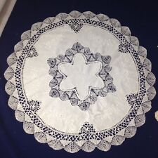 23 INCH ROUND WHITE CLUNY LACE EMBROIDERED MATS 100% COTTON HIGH QUALITY 05211