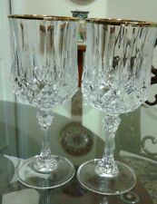 Set  of 2 Cristal D'Arques Longchamp Diamond Cut Pattern Goblets With Gold Rim
