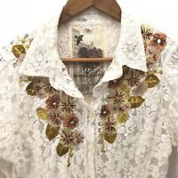 Johnny Was 3J Workshop Rissa Blouse Size Medium Embroidered Lace Button Mandala