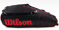 Wilson Tennis Badminton Bag Backpack 2 Pack Racquet Bag Black Red WRZ-6122