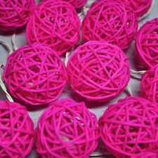 50 PINK Rattan Cane Ball LED light wedding girl party room 5m long battery power
