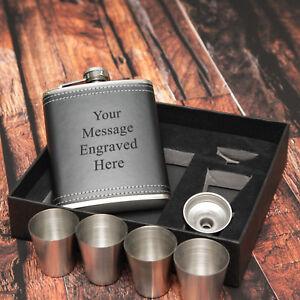 Personalised Black Hip Flask Set 4 cups 7oz - Gift Box Dad, Grandad, Xmas