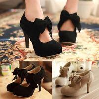 Women Bowknot Buckle High Heels Back Zipper Pumps Shoes Wedding Party Sandals