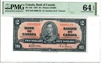 Canada $2 Dollar Banknote 1937 BC-22b PMG Choice UNC 64 EPQ