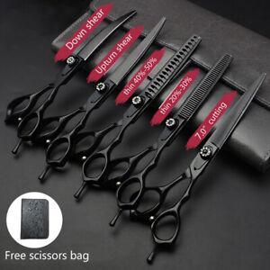 "7"" Professional Hairdressing Scissors Set 440c Barber Salon Hair Thinning Shears"