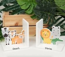 Jungle Wooden Kids Bookends PERSONALISED - Nursery - Children's Gift - Unisex