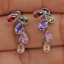 18K White Gold Filled -Amethyst Peridot Topaz WaterDrop Cocktail Women Earrings