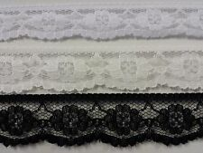 """Lace Flat Floral Trim Size 25mm 1"""" Colours White Cream or Black Wedding Craft"""