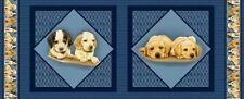 "VIP Puppies Cushion Panels Cotton Quilting Fabric 2 Panels Each 15.75"" Square"