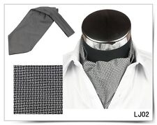 SALE Men Wedding Formal Cravat Ascot Scrunch Self Neck Tie Silver Check Square