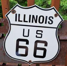 VINTAGE US ROUTE 66 PORCELAIN METAL GASOLINE AUTO ILLINOIS ROAD SHIELD PUMP SIGN