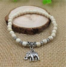 Fashion elephant pendant bracelets white turquoise beads Tibet silver Jewelry Ey