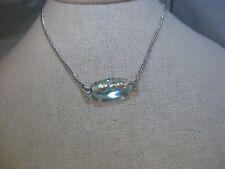 """Vintage Beeline Foil Glass Pendant Necklace, 18"""", Silver Tone"""