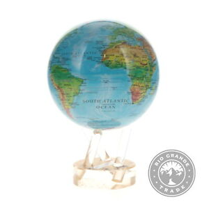 """OPEN BOX Mova Globe Relief Map with Acrylic Stand in Ocean Blue - 4.5"""""""