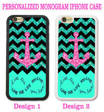 Live Love Life TEAL Chevron PINK Anchor Rubber Silicone Case For iPhone SE 5S 5