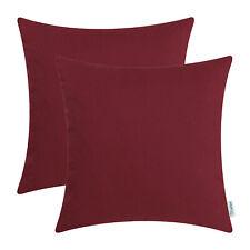 "2Pcs Burgundy Pillow Shell Cushion Cover Cotton Canvas Sofa Bed Car Decor 18x18"""