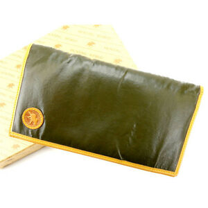 HUNTING WORLD Wallet Purse Long Wallet Green Brown Woman Authentic Used I154